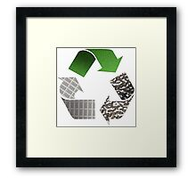 Recycle symbol with newspaper glass and metal Framed Print