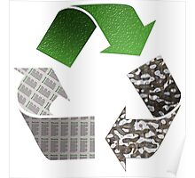 Recycle symbol with newspaper glass and metal Poster