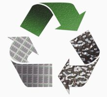 Recycle symbol with newspaper glass and metal by MarkUK97