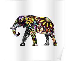 Aztec Elephant White Poster