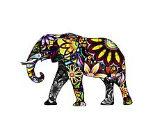 Aztec Elephant White Photographic Print
