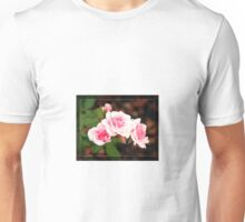 Three Pink Roses with Border Frame Unisex T-Shirt