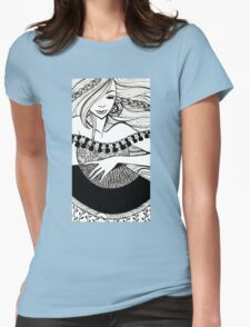 lady with fan Womens Fitted T-Shirt