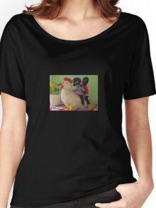 Gollies riding a Chicken Women's Relaxed Fit T-Shirt