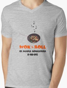 Wok & Roll Mens V-Neck T-Shirt