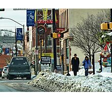 A Snowy Day in Town Photographic Print