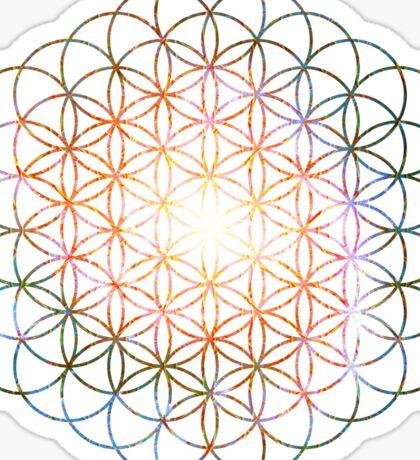 Pinwheel [Vibrant Double Flower] Flower of Life   Sacred Geometry Sticker