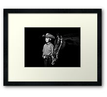 Cowboy and his Horse in Black and White Framed Print