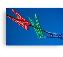 Red Green and Blue Pegs Canvas Print