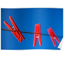 Three Red Pegs Poster