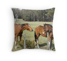 back chatting horses  Throw Pillow