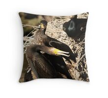 Courting Cormorants Throw Pillow