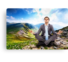 Businessman relaxing in the nature Canvas Print