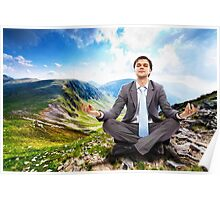 Businessman relaxing in the nature Poster