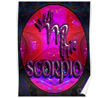 SCORPIO Zodiac Sign Horoscope Colorful Birth Month Colorful Fractal Psychedelic Design Poster