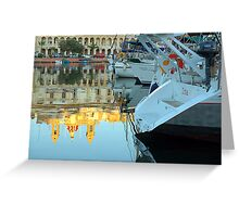 Boats By The Church Greeting Card