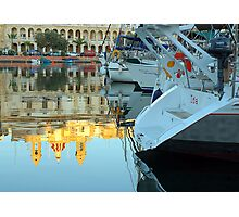Boats By The Church Photographic Print