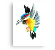 Watercolor Brush Stroke Kingfisher Canvas Print