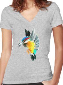 Watercolor Brush Stroke Kingfisher Women's Fitted V-Neck T-Shirt