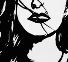 Black and White Girl Pop art  Sticker
