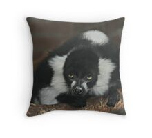 Black-and-White Ruffed Lemur Throw Pillow