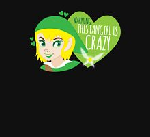 WARNING this fangirl is CRAZY! (with girly Link and fairy) Womens Fitted T-Shirt