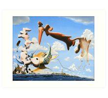 "Surreal Friends - oil on canvas - 20"" x 16"" Art Print"