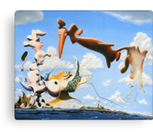 """Surreal Friends - oil on canvas - 20"""" x 16"""" Canvas Print"""