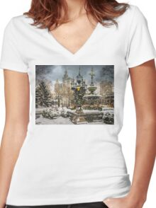 Snowstorm At City Hall Women's Fitted V-Neck T-Shirt