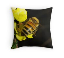Bee works hard for her nectar Throw Pillow