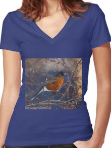 PROUD ROBIN Women's Fitted V-Neck T-Shirt