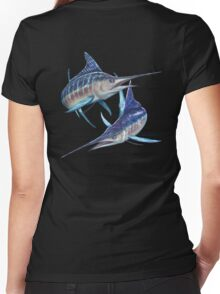 Striped Marlin Women's Fitted V-Neck T-Shirt