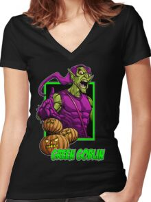 Green Goblin Women's Fitted V-Neck T-Shirt