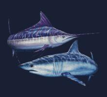 Striped marlin & Mako shark by David Pearce