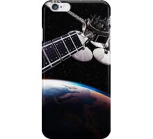 Communication satellites in space above Earth with rising sun art photo print iPhone Case/Skin