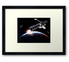 Communication satellites in space above Earth with rising sun art photo print Framed Print