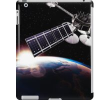 Communication satellites in space above Earth with rising sun art photo print iPad Case/Skin