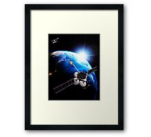 Communication satellites Space internet concept art photo print Framed Print