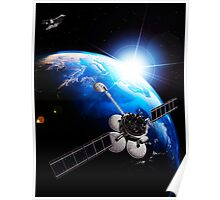 Communication satellites Space internet concept art photo print Poster