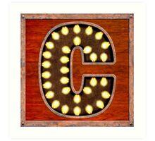 Vintage Lighted Sign - Monogram Letter C Art Print