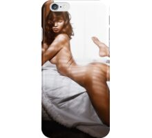 Beautiful nude woman posing on a bed by the window art photo print iPhone Case/Skin
