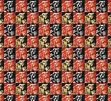 patchwork cat lino prints by mindgoop