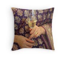 Champagne on sari Throw Pillow