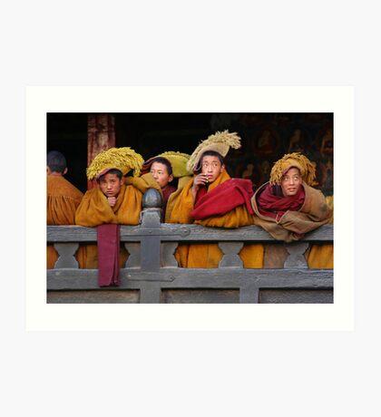 Novice monks Art Print