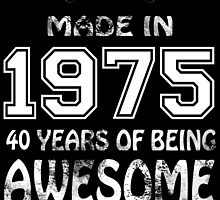 Made in 1975... 40 Years of being Awesome by birthdaytees