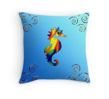 Psychedelic Seahorse with Spirals Throw Pillow