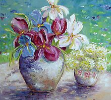 Still life with Gardenflowers by Claudia Hansen