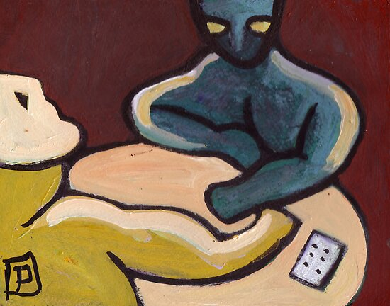 The card players abstract by sword