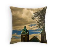 I saw the crosses so often — and often in unexpected places — like a thin dark veil of the Catholic church spread over the New Mexico landscape Throw Pillow