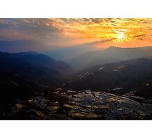 sunset reflection at mountain Photographic Print